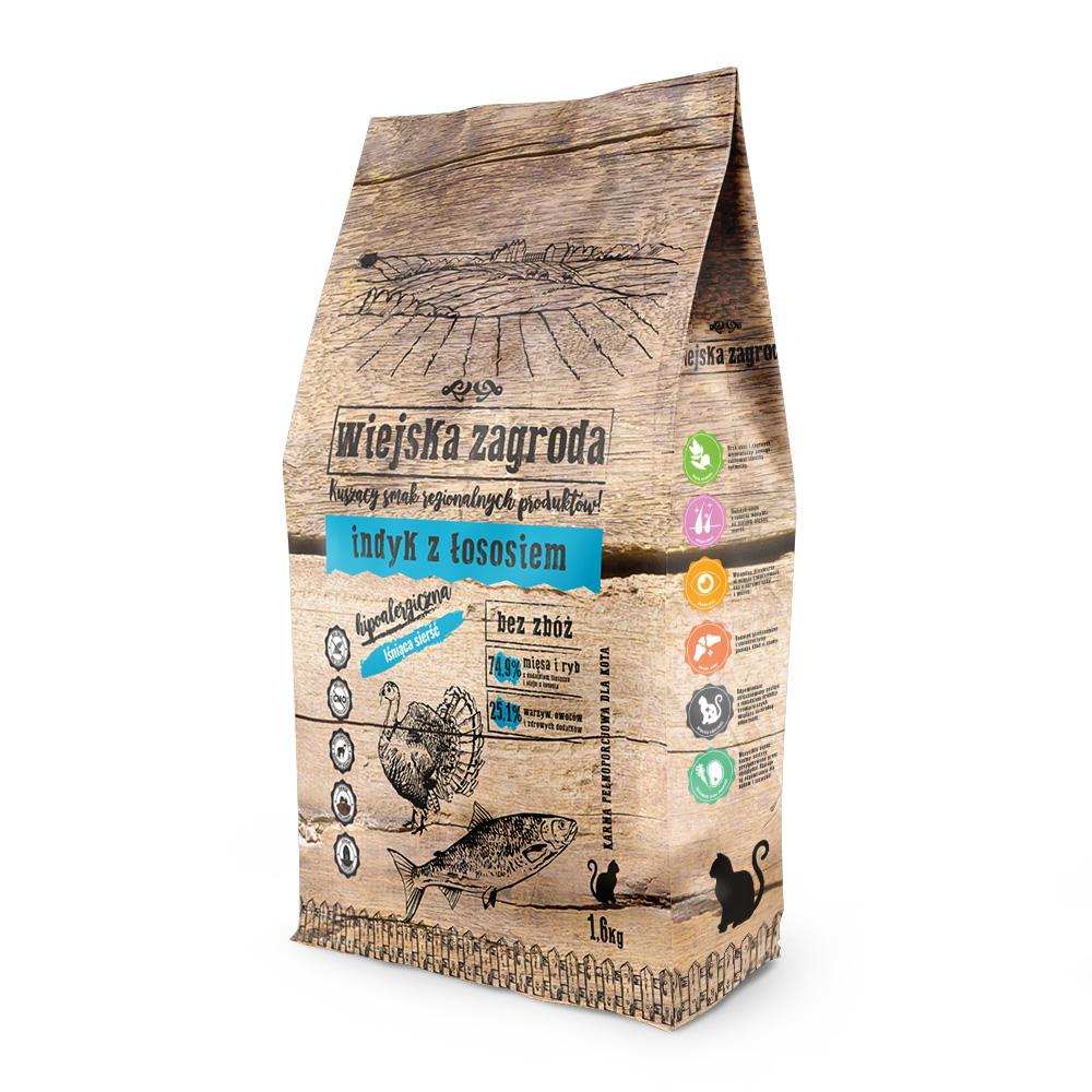 Wiejska Zagroda  sucha karma dla kota indyk z łososiem 1,6 kg