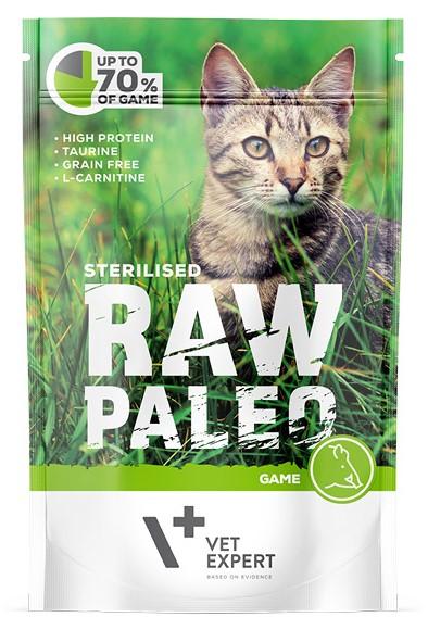 RAW PALEO CAT ADULT GAME STERILLISED - karma mokra dla dorosłych kotów wykastrowanych z tauryną i dziczyzną 100 g  VETEXPERT