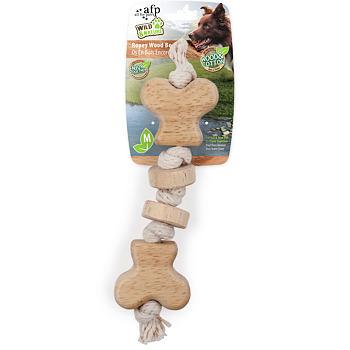 Ropey Wood Bone - drewniana zabawka w kształcie kości rozmiar M