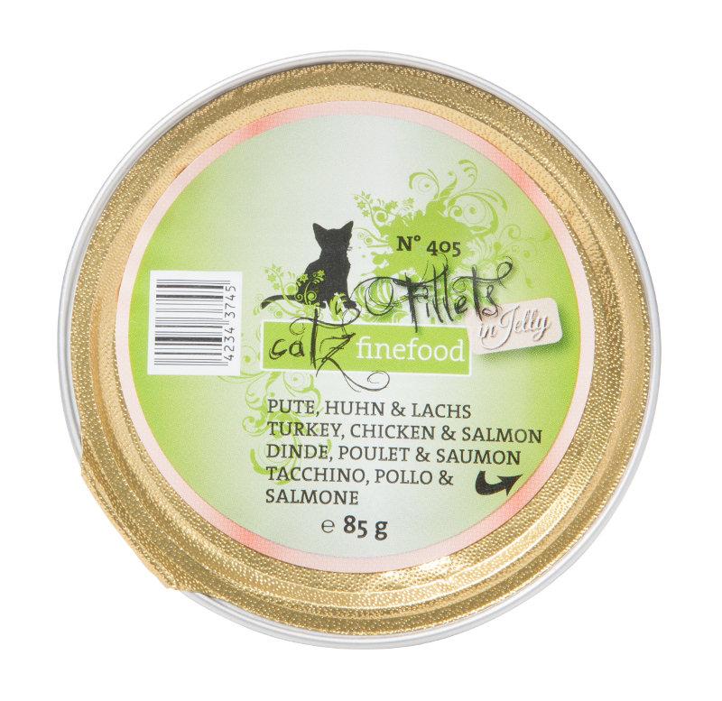 Cats Finefood  filet nr 405-indyk, kurczak, łosoś tacka 85g