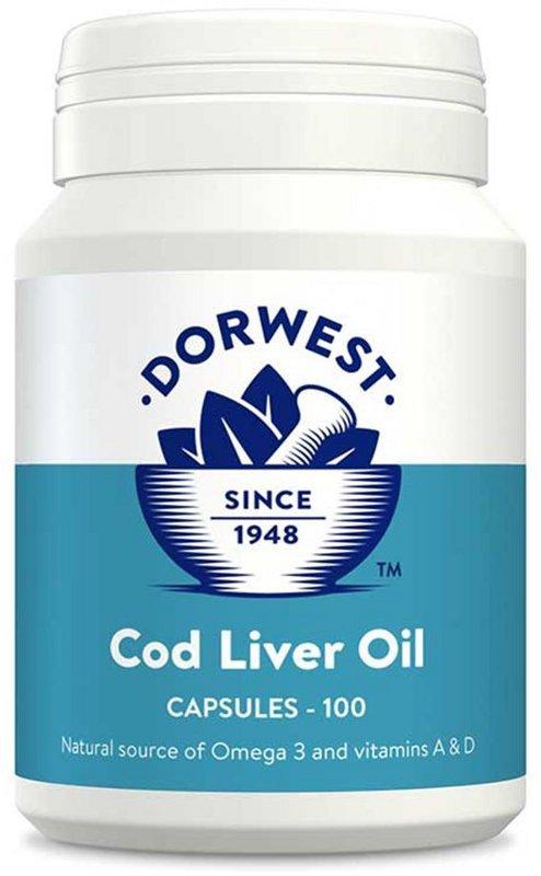 Dorwest Olej z wątroby dorsza  (kwasy Omega-3) z witaminą D i A - 100 kapsułek dla psa i kota